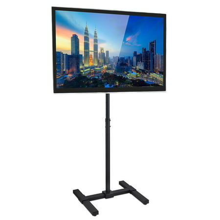 Mount-It! TV Floor Stand Portable TV Pedestal Display Fits LCD LED 13 to 42 inch Flat Panel Screens, Height Adjustable Pole, VESA 75x75 - 200x200, 44 Lb Weight Limit (MI-878)