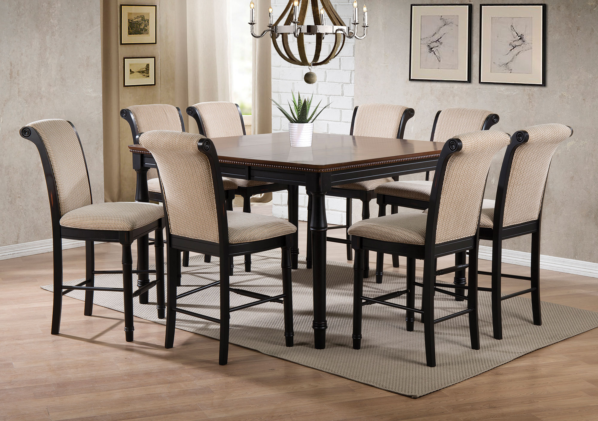 Coaster Company Cabrillo Counter Height Dining Table Amaretto And Black Walmart Com Walmart Com