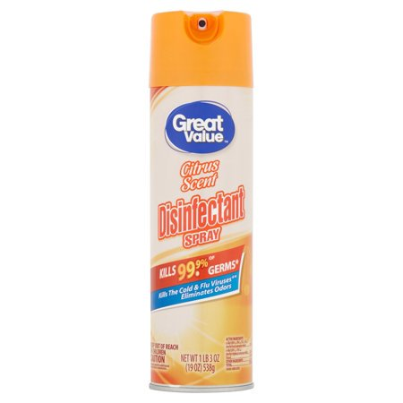 Madacide 1 Cleaner Disinfectant - (2 Pack) Great Value Disinfectant Spray, Citrus Scent, 19 oz