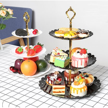 3-Tier Cake Stand Fruit Plate Cupcake Stand for Cakes Desserts Fruits Candy ()