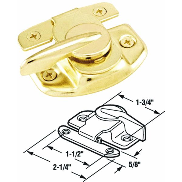 Prime Line Products 17573 Sliding Window Sash Lock, Brass-Finish Steel