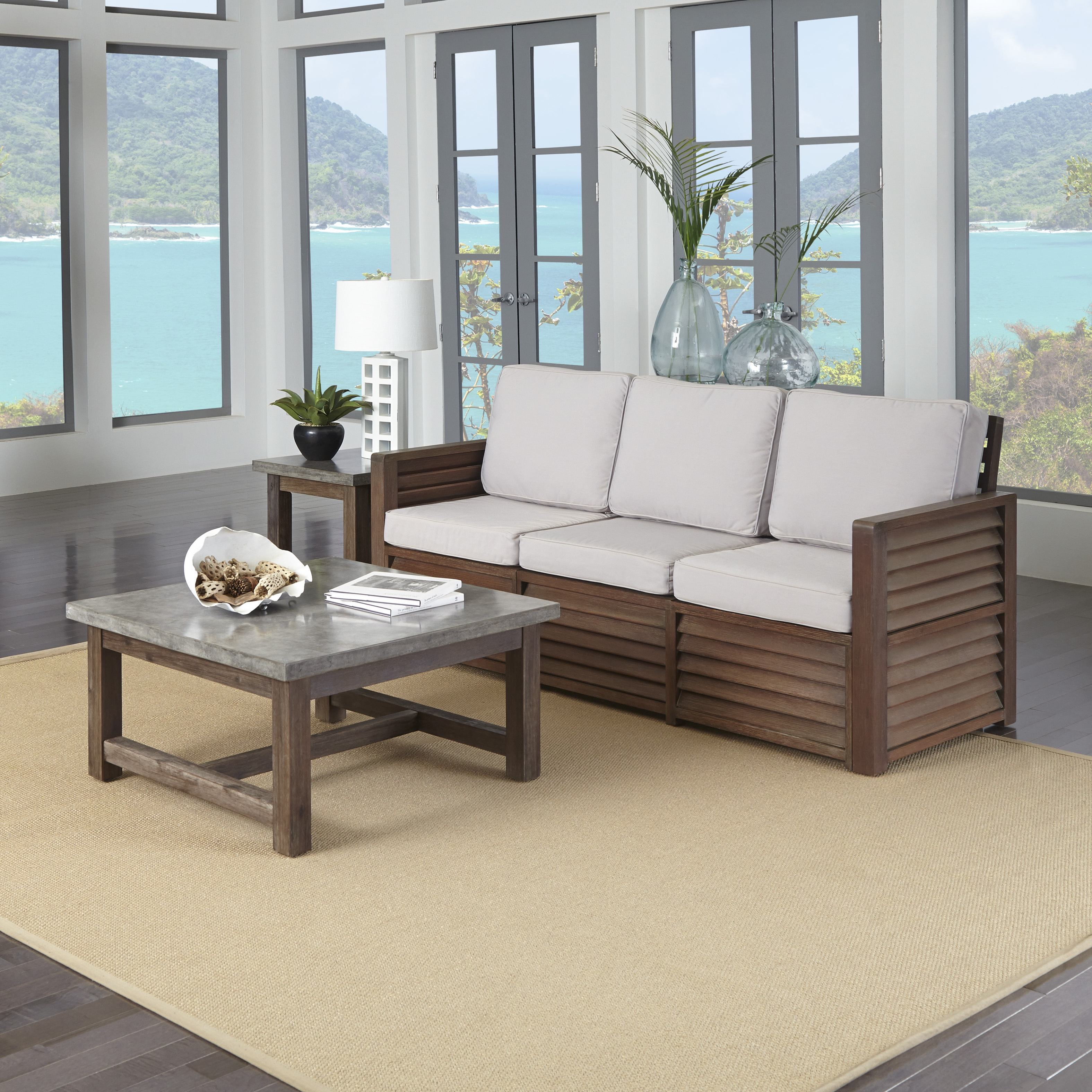 Home Styles Barnside 3-Seat Sofa, End Table and Coffee Table