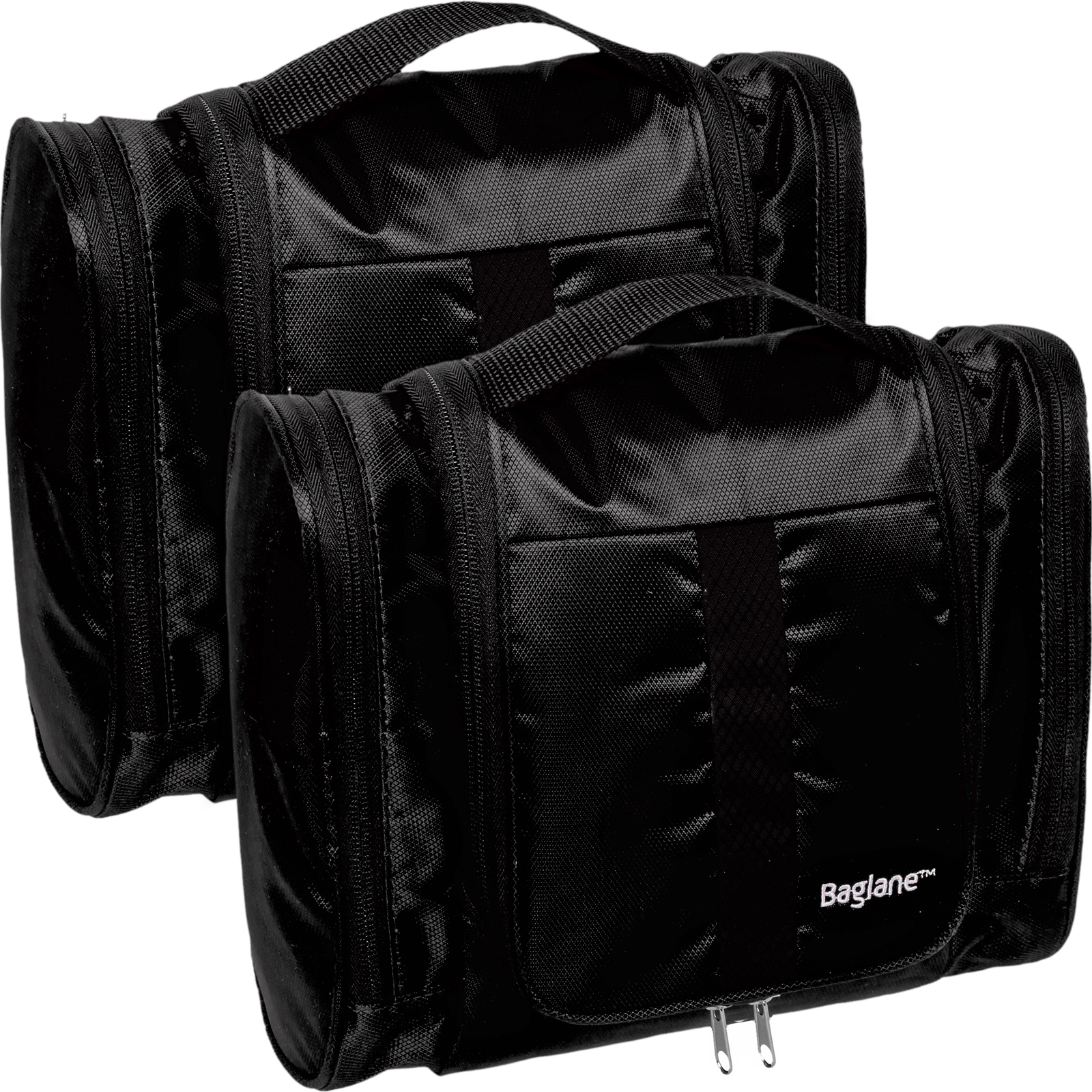 Baglane Black TechLife Nylon Luggage Travel Hanging Toiletry Bag - 2 Pack NEW