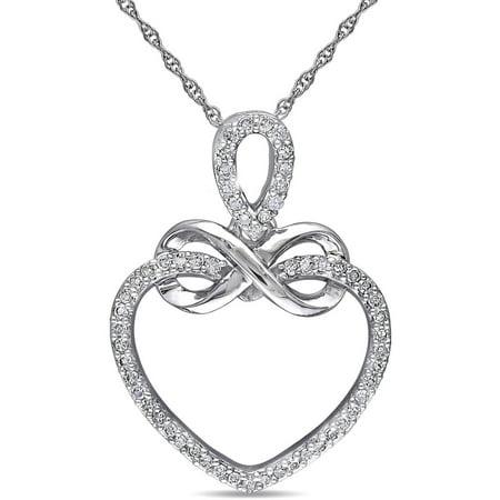 Miabella 1/5 Carat T.W. Diamond 10kt White Gold Infinity-Heart Pendant
