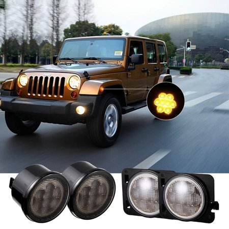 LED Turn Signal W/ Fender Side Light Smoke Lens for 07-17 Jeep Wrangler HITC