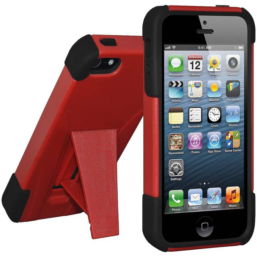 Amzer Double-Layer Hybrid Case with Kickstand for Apple iPhone 5/5S/SE