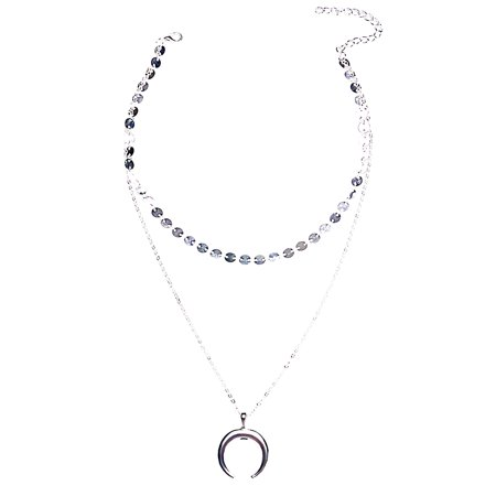 Vintage Crescent Moon Pendant Necklace Double-layer Charm Choker Women Jewelry