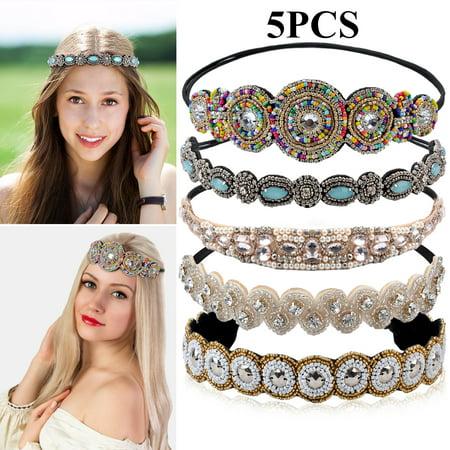 Tribal Headpiece (5PCS Boho Headbands for Women,Kapmore Rhinestone Beaded Elastic Headband Wedding Headband Headpiece Hair Accessories for Women)