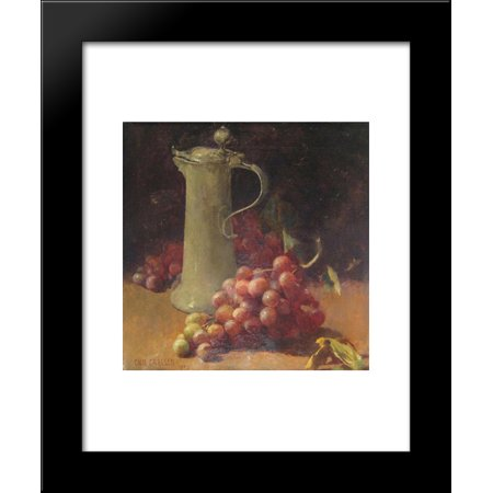 Still life with grapes & pewter flagon 20x24 Framed Art Print by Emil Carlsen