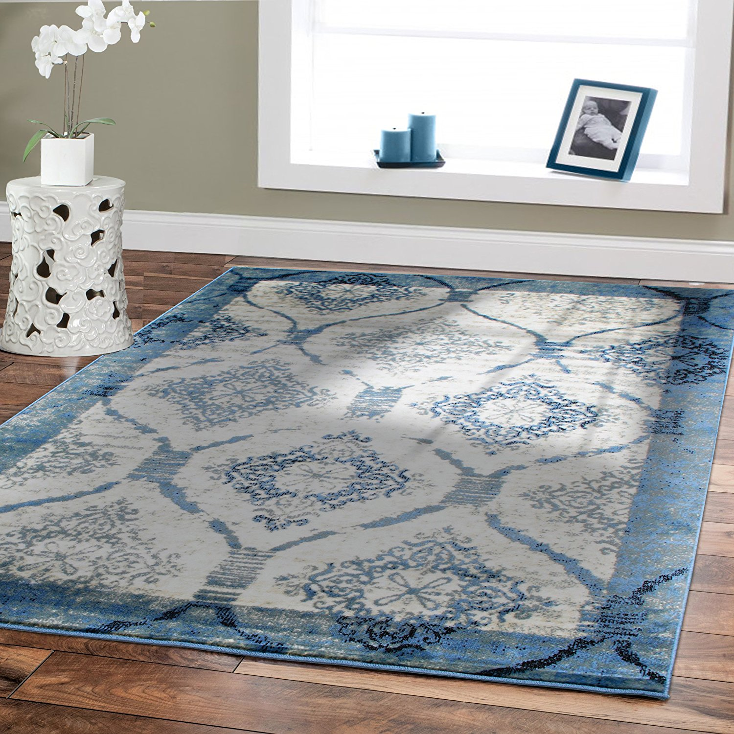 Premium Soft Area Rugs for Living room 5x7 under150 Blue Dining Room Rugs for Under the Table 5x8 Contemporary Area Rug