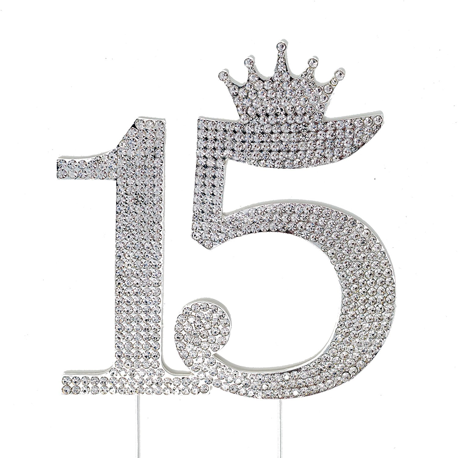 15th Birthday Quinceanera 15 Crown Cake Topper Silver Crystal Rhinestone