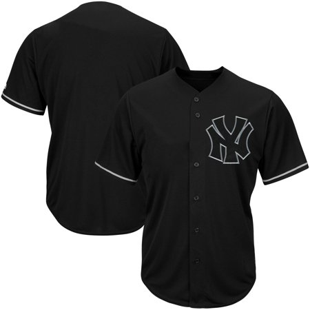 New York Yankees Majestic Big & Tall Pop Fashion V-Neck Jersey - Black