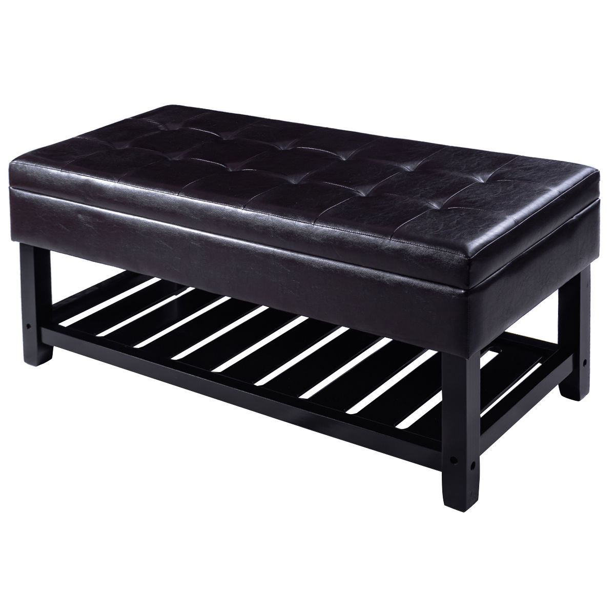 Costway Storage Bench Shoe Rack Ottoman Organizer Entryway Furniture PU Leather