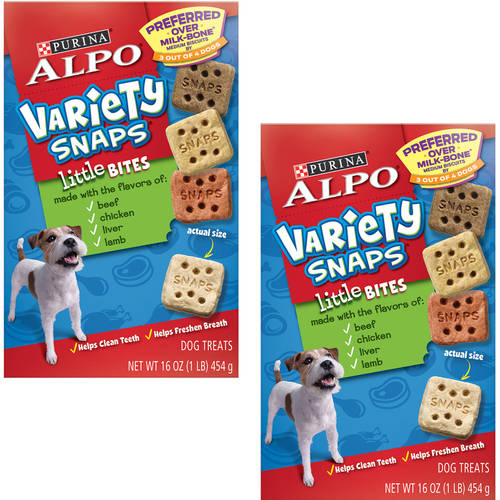 (2 Pack) Purina ALPO Variety Snaps Little Bites Dog Treats with Beef, Chicken, Liver & Lamb Flavors 16 oz. Box