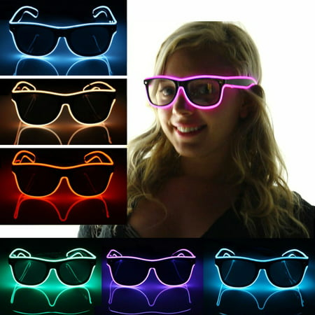 Purple Neon Light Rod (Women Men's Fashion El Glasses Neon LED Light Up Shutter Shaped Glow Sun Glasses Rave Costume Party Club DJ Bright SunGlasses )
