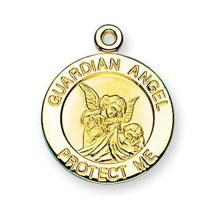 Guardian Angel Round Gold Over Sterling Silver