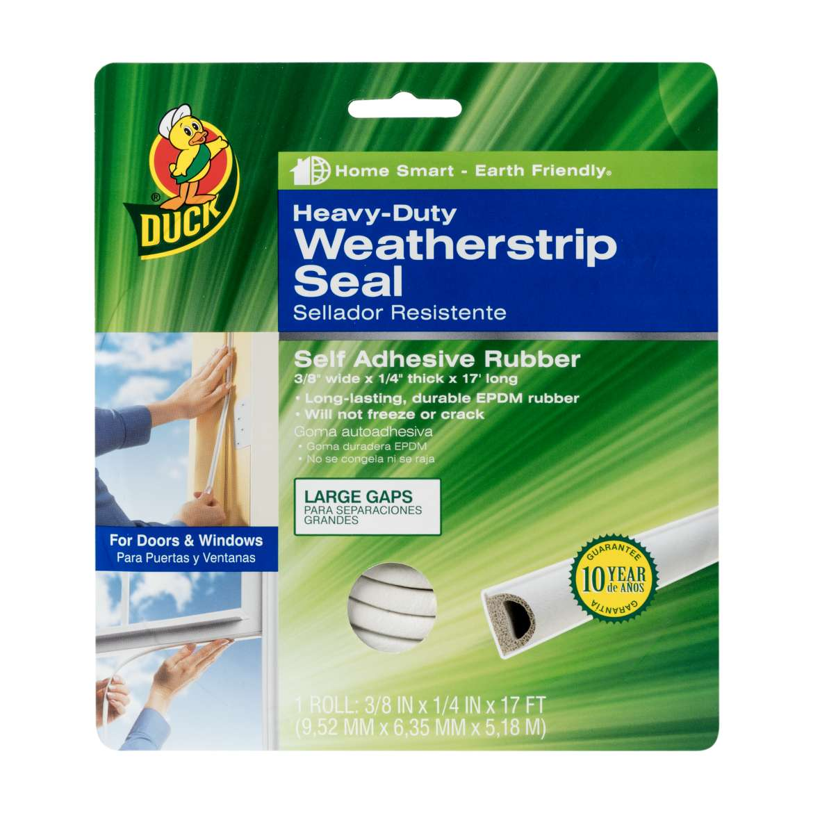Duck Brand Heavy-Duty Weatherstrip Seal for Large Gaps, .38 in. x .25 in. x 17 ft