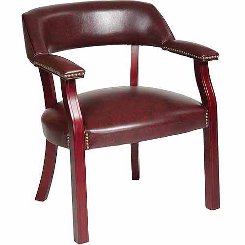 Office Star Traditional Guest Chair with Wrap-Around Back, Oxblood