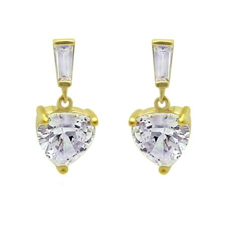 14K Yellow Gold Heart Cut Cubic Zirconia Dangle Baguette On Top Drop Earrings
