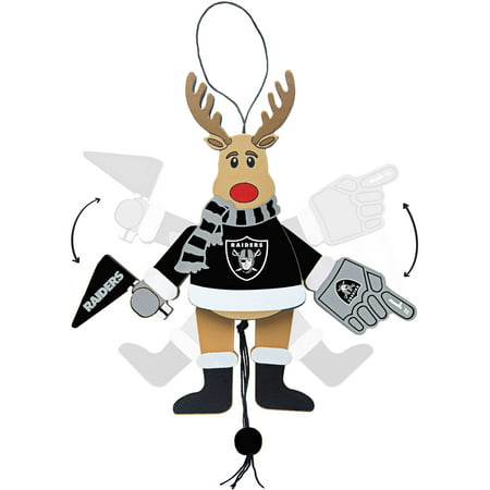 Topperscot by Boelter Brands NFL Wooden Cheering Reindeer Ornament, Oakland Raiders