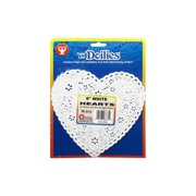 "Hygloss Paper Lace Doilies Heart 6"" 36pc White"