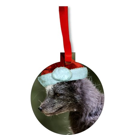 Black Wolf Cub in a Santa Claus Hat Round Shaped Flat Hardboard Christmas Ornament Tree Decoration - Unique Modern Novelty Tree Décor Favors