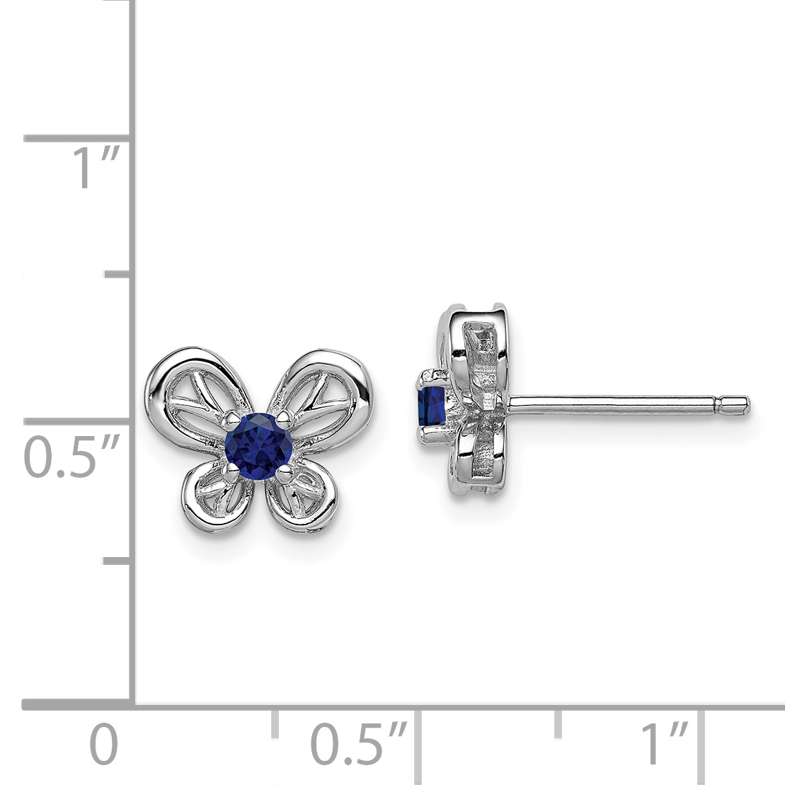 925 Sterling Silver Created Sapphire Post Stud Earrings Set Birthstone September Bow Fine Jewelry Gifts For Women For Her - image 1 de 2