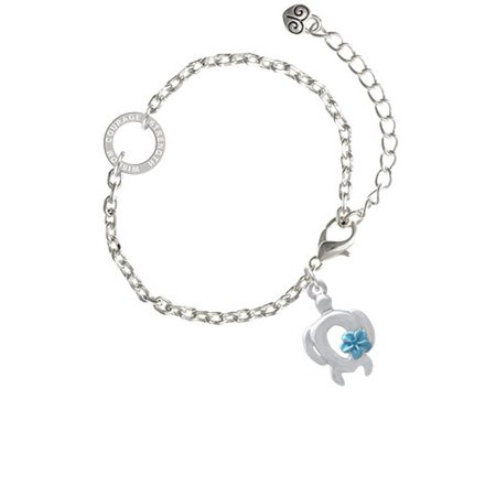 Open Sea Turtle with Blue Plumeria - Courage Strength Wisdom Ring Zoe Bracelet