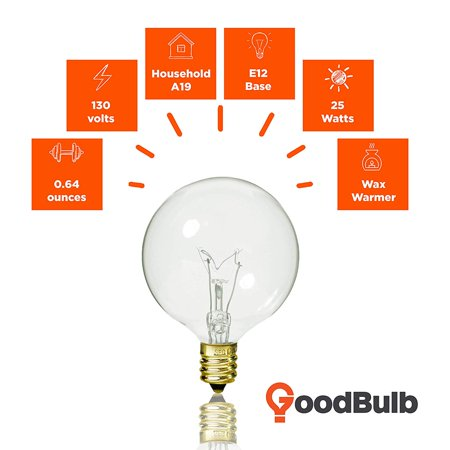 GoodBulb Wax Warmer Bulbs, G16 25 Watt Bulbs, E12 Light Bulb Candelabra Base, 130 Volts, 240 Lumens, Ideal for Wax Warmers, Salt Rock Lamps, Night Lights, and More - Pack of 12