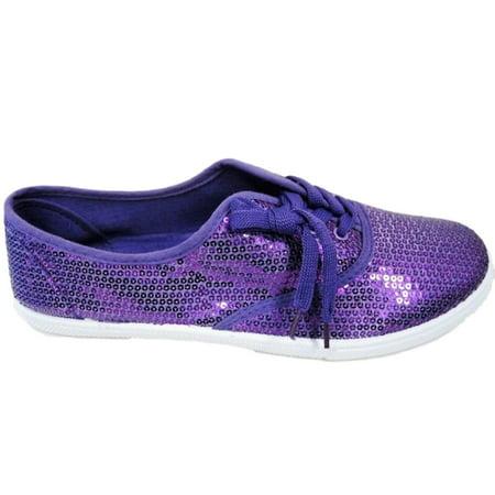 W1412 Women Fashion Sequin Sparkle Lace Up Tennis Sneakers Athletic Shoes  Flats Purple - Walmart.com 4c97c4a061