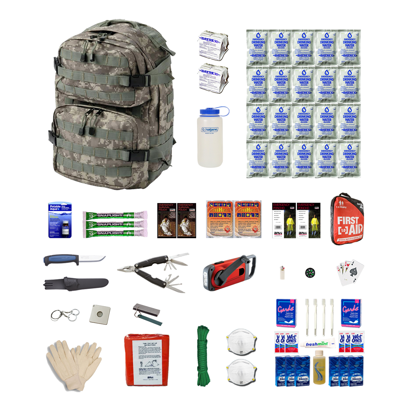 Combo Survival Kit Two For Earthquakes, Hurricanes, Floods, Tornadoes, Disaster Preparedness by