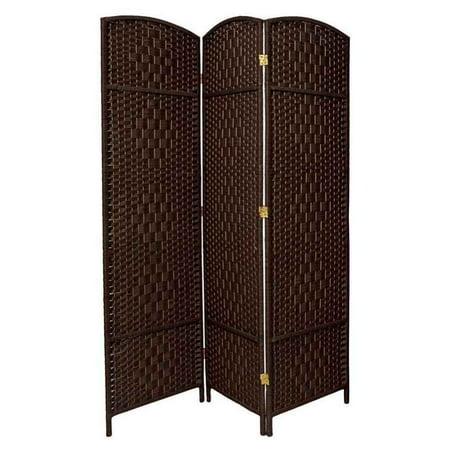 6 ft. Tall Diamond Weave Fiber Room Divider - Dark Mocha (3 Panels)