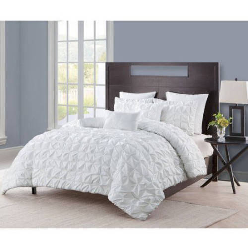 VCNY Home Maya Solid Pinch Pleat 6/8 Piece Comforter Set with Euro Shams, Multiple Colors