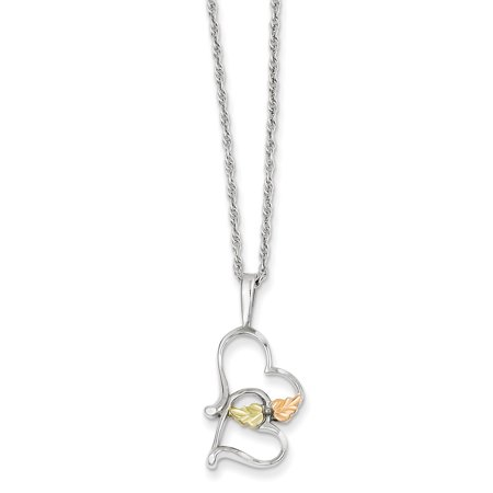 Sterling Silver & 12K Double Heart Necklace (Weight: 0.09 Grams, Length: 18 Inches) - image 1 of 2