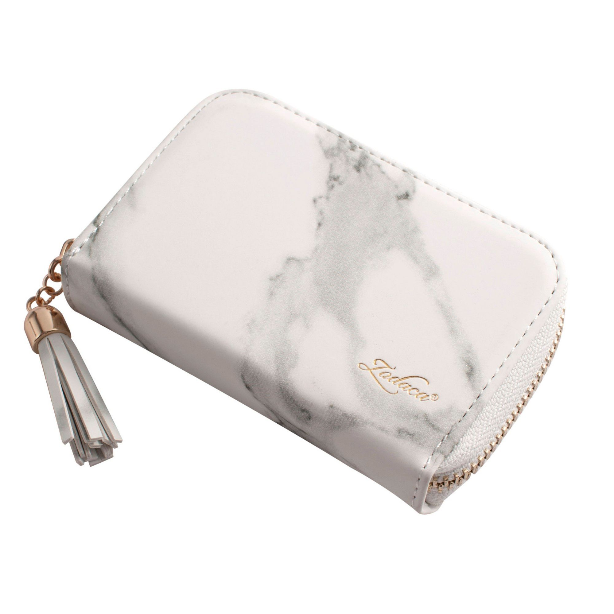 9910e85976d Card Holder Wallet for Women by Zodaca Fashion Small Leather Card Holder  Zip Coin Pouch Purse Cluth Mini Wallet 10-Slot for ID Credit Card - White  Marble