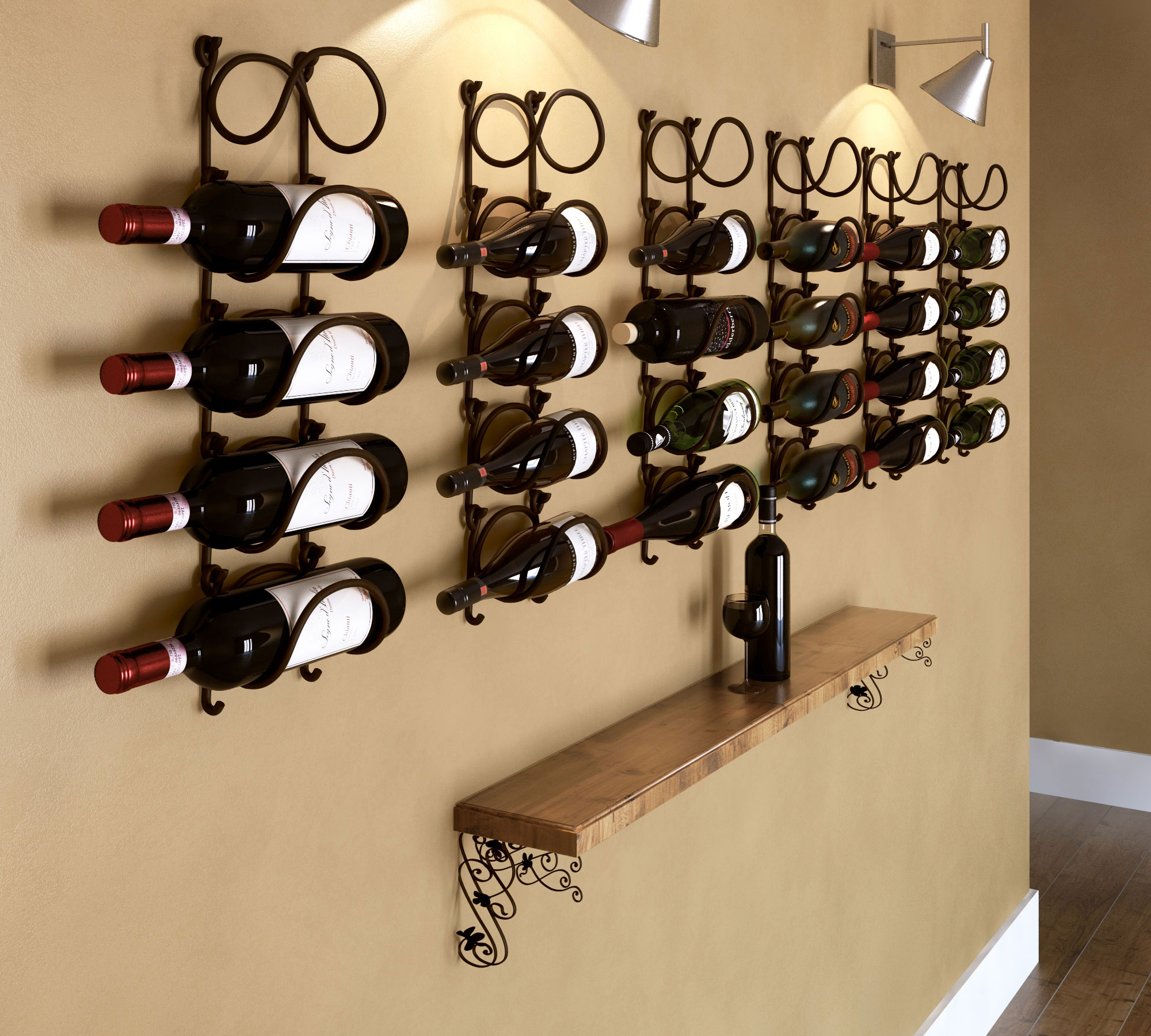 Modular Wrought Iron Wine Rack Wall Mounted Premium Quality Black ...