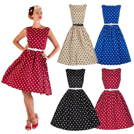 dress 50'S 60'S ROCKABILLY DRESS Vintage Style Swing Pinup Retro Housewife (50's Style Clothing)