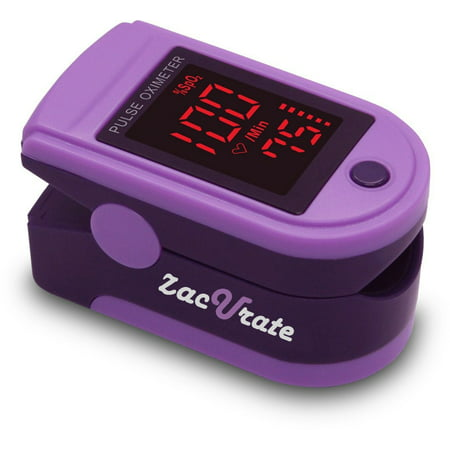 - Zacurate Pro Series 500DL Fingertip Pulse Oximeter Blood Oxygen Saturation Monitor with silicon cover, batteries and lanyard (Royal Purple)