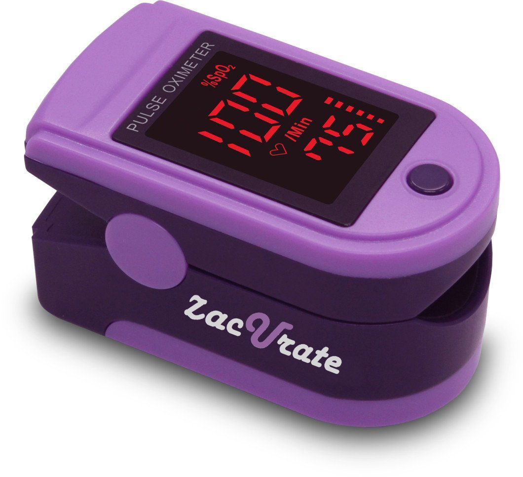 Zacurate Pro Series 500DL Fingertip Pulse Oximeter Blood Oxygen Saturation Monitor with Silicon Cover, Batteries and Lanyard, Royal Purple