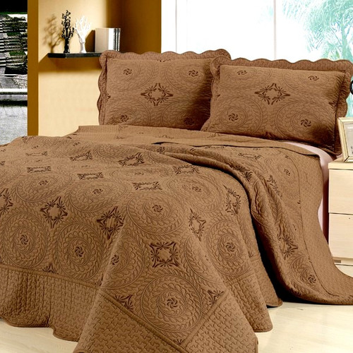 Home Sensation Embroidery Microfiber 3 Piece Reversible Quilt Set
