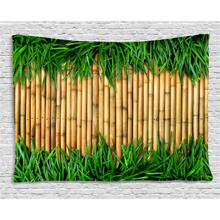 Summer Bamboo - Green and Brown Tapestry, Bamboo with Grass Asian Inspirations Summer Ecology Japanese, Wall Hanging for Bedroom Living Room Dorm Decor, 80W X 60L Inches, Sand Brown Fern Green, by Ambesonne