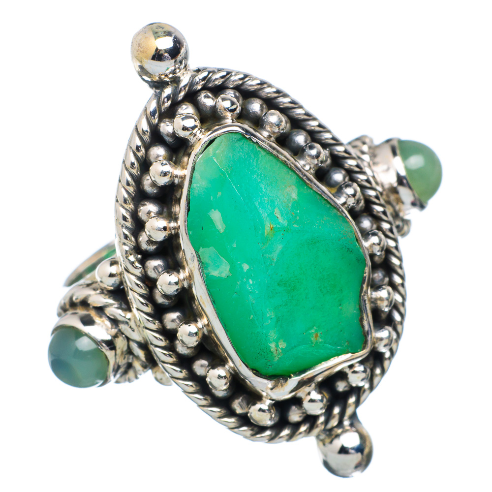 Ana Silver Co Rough Chrysoprase, Prehnite Ring Size 8 (925 Sterling Silver) Handmade Jewelry RING884418 by Ana Silver Co.
