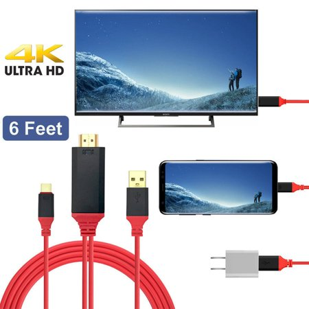 EEEKit 6Ft USB C Type C to HDMI Cable with USB Charging Port for Samsung Galaxy S9/S9 Plus/S8/58 Plus/Note 8, Macbook/ Pro, LG G7/G6/G5/V40/V35/V30/V20 ,Google ChromeBook Pixel,Oneplus 6T/6/5