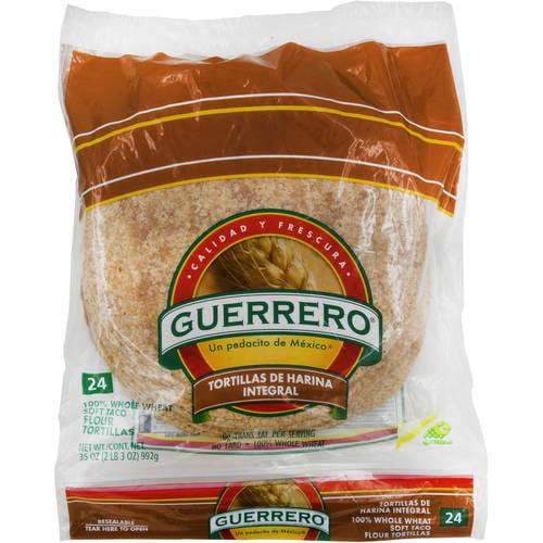 Guerrero Flour 100% Whole Wheat Soft Taco Tortillas, 24 ct