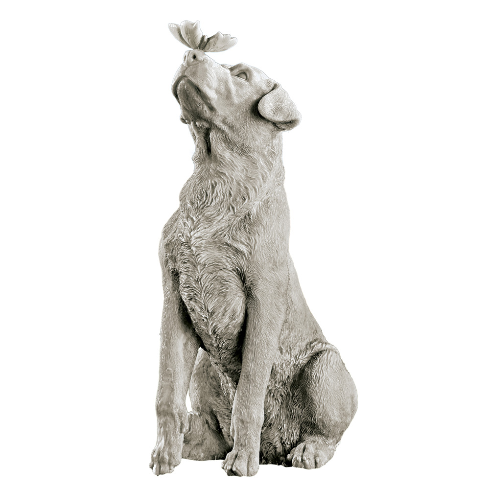 Dog And Butterfly Outdoor Animal Garden Statue Decoration
