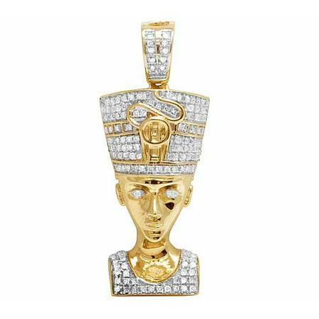 10K Yellow Gold Queen Nefertiti Real Diamond Pendant .50ct 1.3