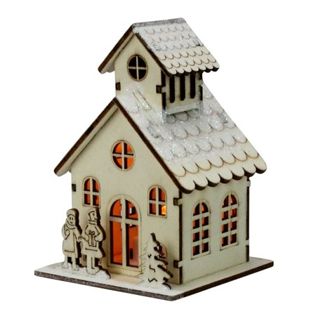 "4.5"" Lighted Laser Cut Wooden Church with Boy and Girl Christmas Decoration"