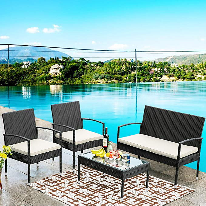 CLEARANCE! Patio Conversation Sofas Sets, 4-Piece Wicker ...