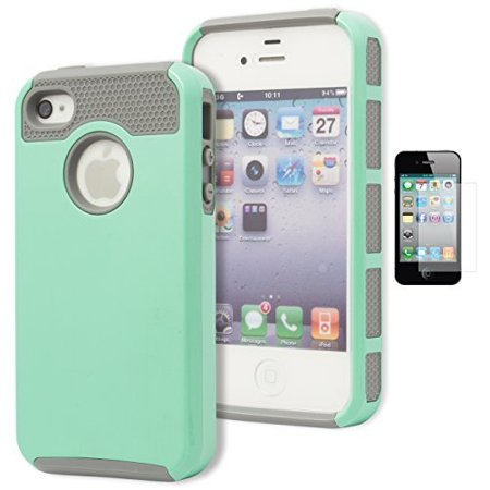 4s Soft Silicone (iPhone 4 Case, Bastex Heavy Duty Hybrid Protective Case - Soft Silver Grey Silicone Cover Hard Teal Case for Apple iPhone 4, 4g, 4s 4gs**INCLUDES SCREEN PROTECTOR** )