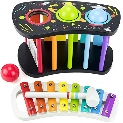 IMagination Generation Pound & Tap Bench with Slide Out Xylophone | Out of This World Space Theme by Brybelly